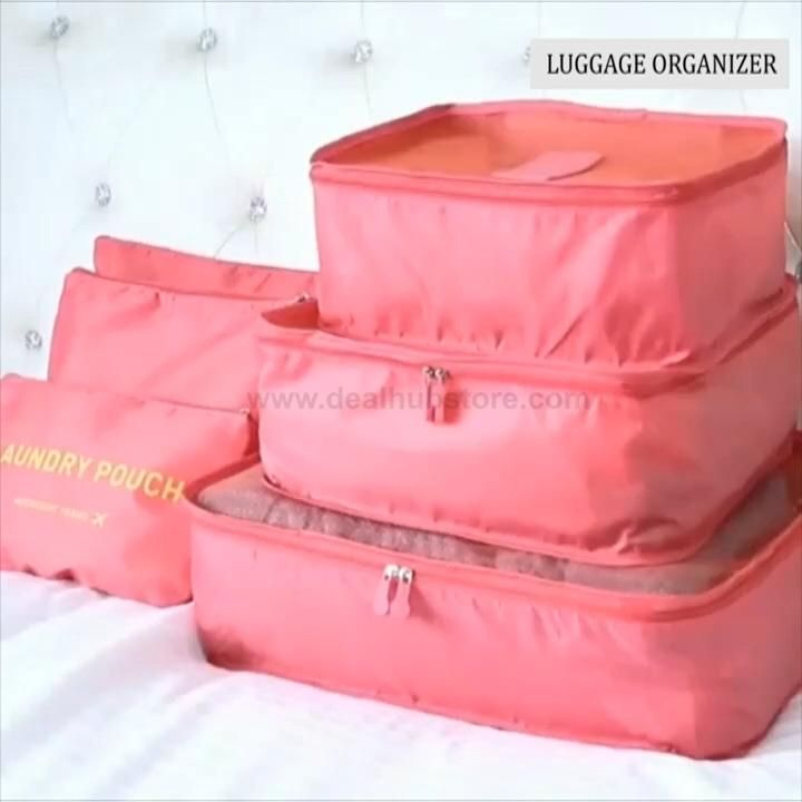 Make packing and traveling stress free with our 6 piece luggage organizer set Each set comes with 6 separate pieces (as shown in the photos)! Our organizer keeps your clean clothes, laundry, toiletries, and underwear separate and organized! Available in 6 fun colors! Online-exclusive: not available in stores!
