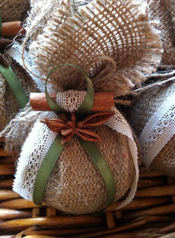 Burlap ball ornament