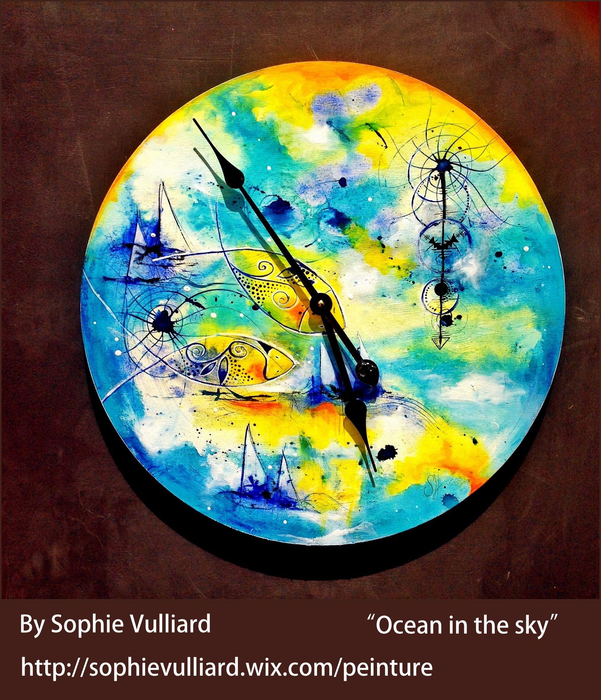 Sophie Vulliard Horloge Peinture Intuitive Peinture Acrylique Sur