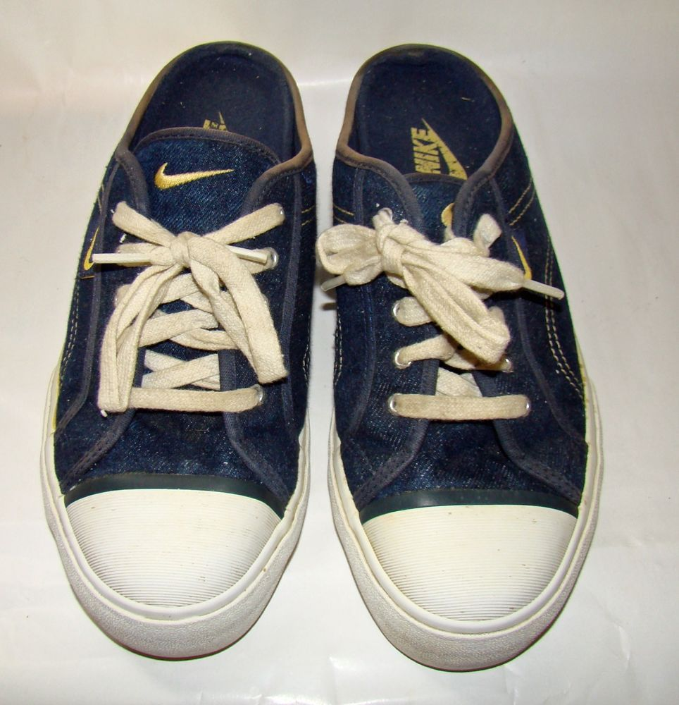 Vintage Nike hermosa denim lace mule clog shoes women's Sneakers Tennis  CANVAS