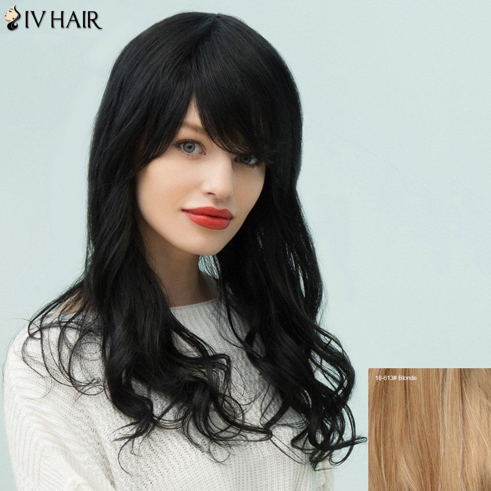 Round head haircuts men siv hair layered long oblique bang fluffy wavy human hair wig women