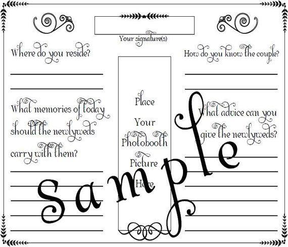 Photo Booth Wedding Guest Book Page PDF File by glamorousbridal - guest book template