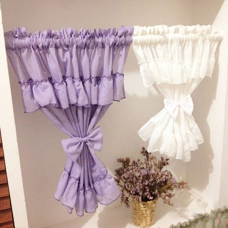 Japan Style 2 Layers White Short Curtains For Living Room Purple Lace  Kitchenu2026