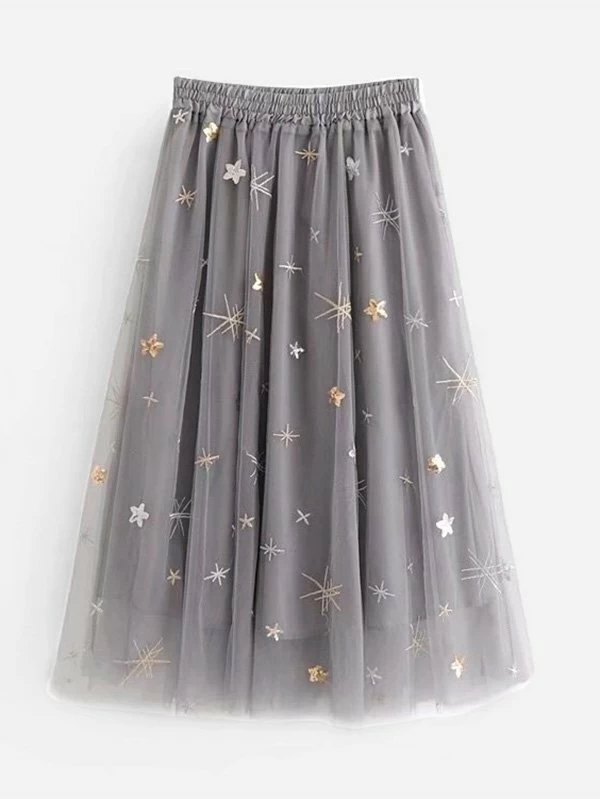 Photo of Skirt with embroidery and mesh   SHEIN