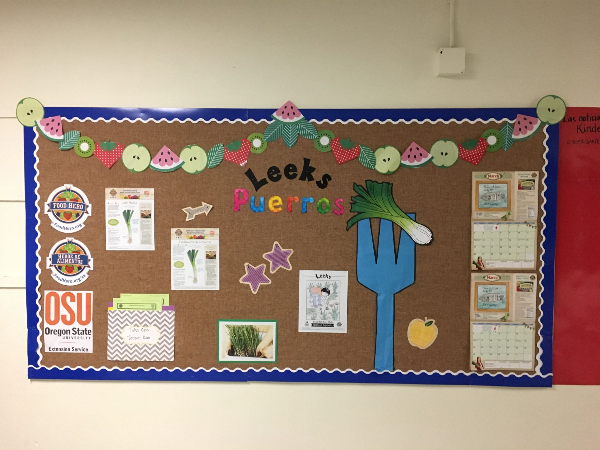 Vegetable leeks bulletin board. #beafoodhero