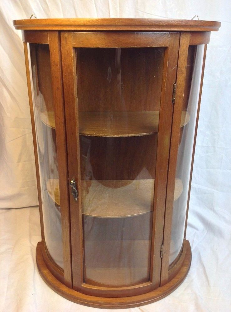 Vintage Miniature Curved Gl Wood Curio Cabinet Table Wall Shelf Display Case Unknown