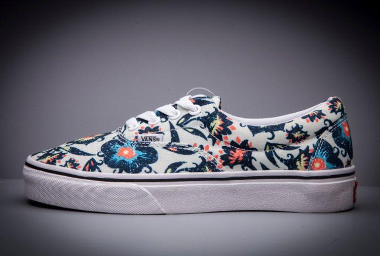 Blue Vans Flowers Printed Era Women Skateboard Shoes #Vans