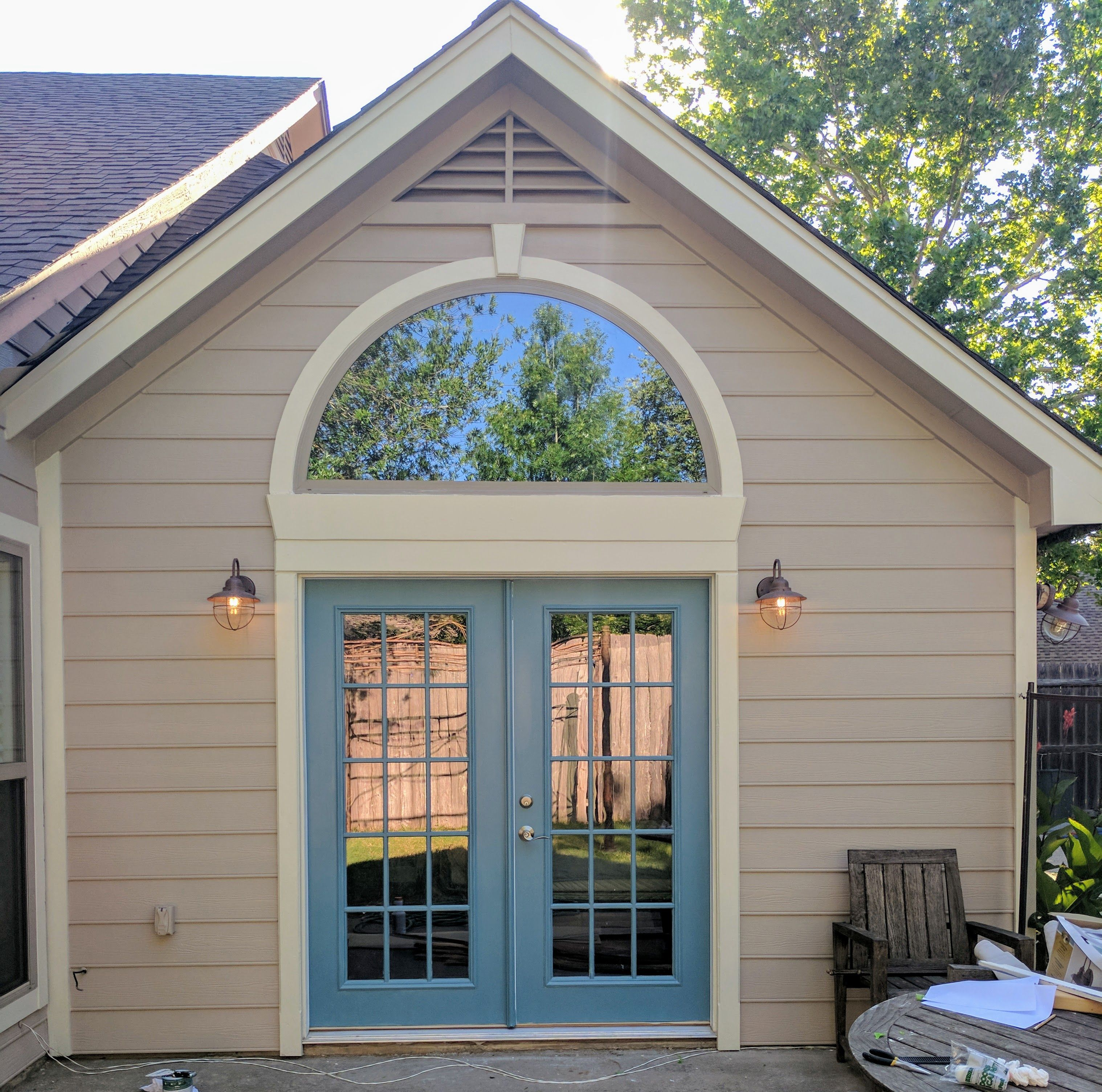 Taupe Exterior House Color Ideas: French Doors: Oarsman Blue S450-5, Siding: Mesa Taupe PPU5
