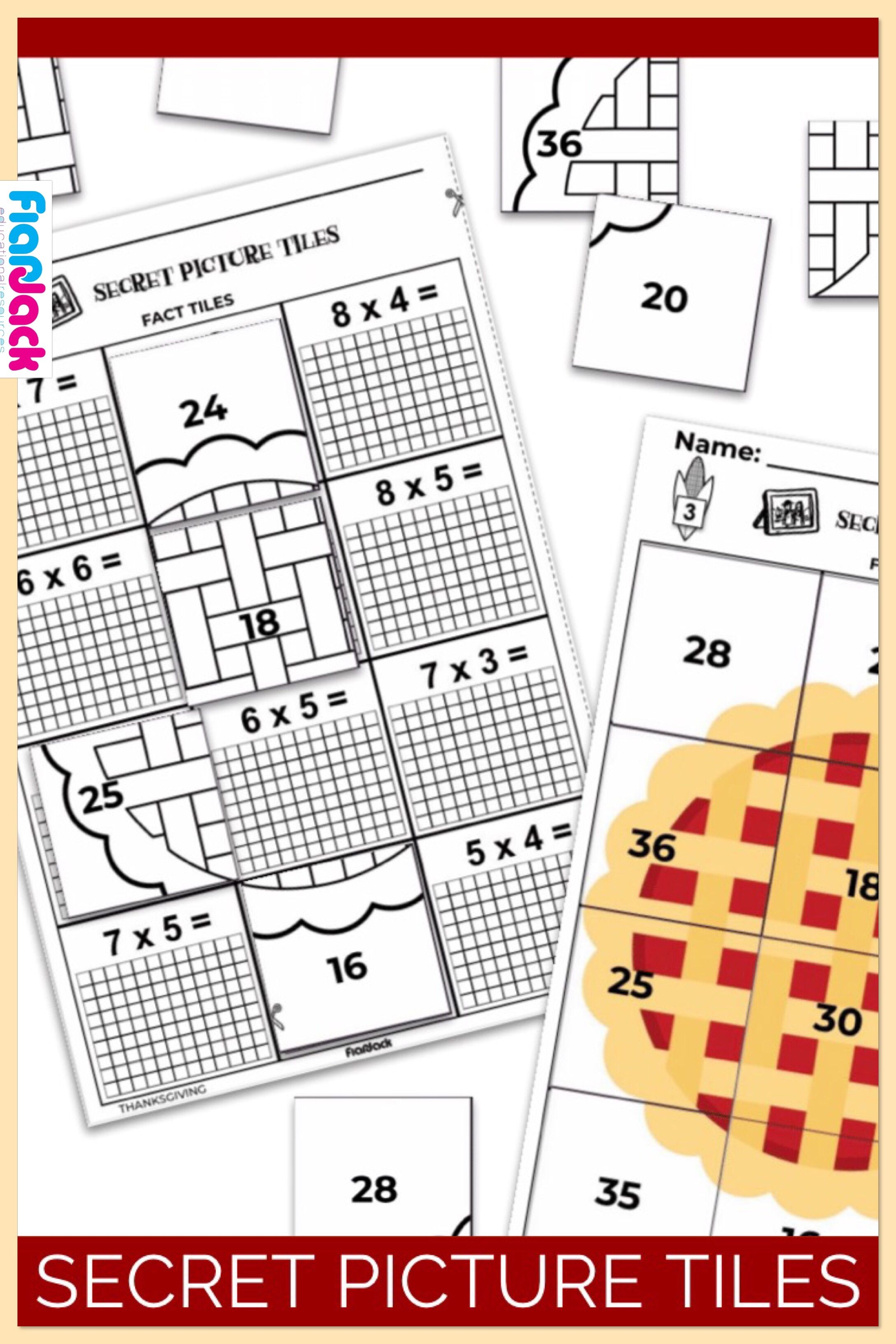 Thanksgiving Multiplication Facts Secret Picture Tile