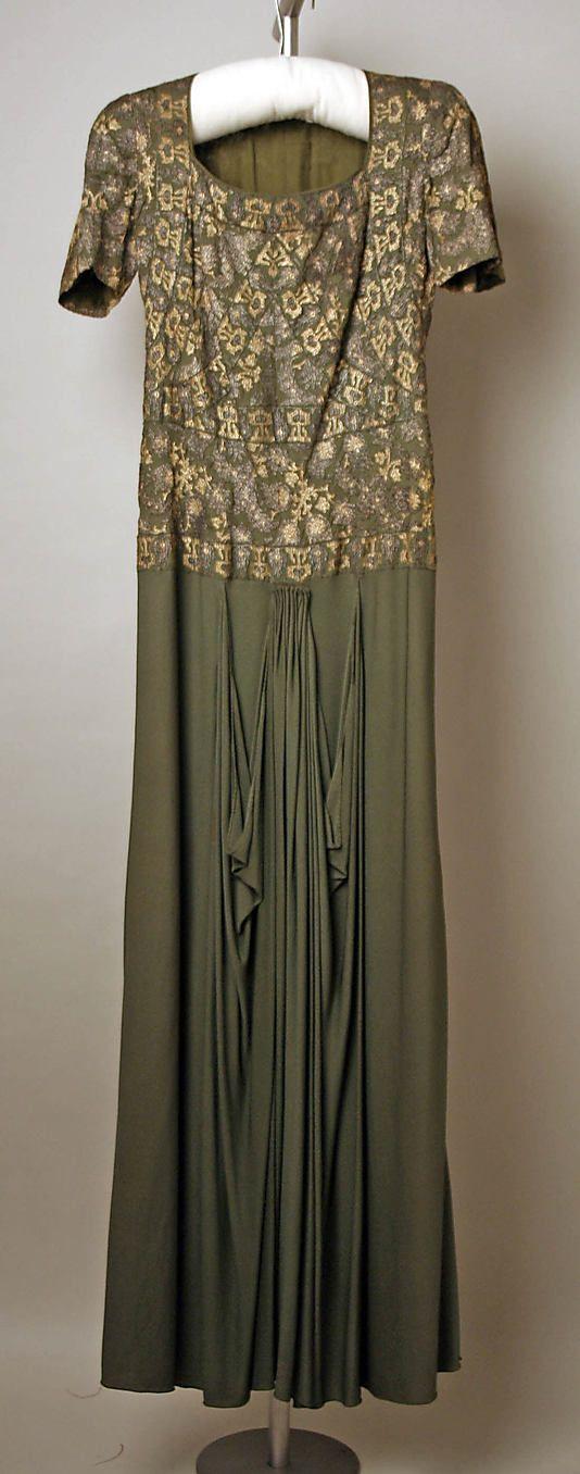 Circa 1937 silk Dinner dress by Jessie Franklin Turner, American. Label: Jessie Franklin Turner/410 Park Avenue/New York.  Via MMA.