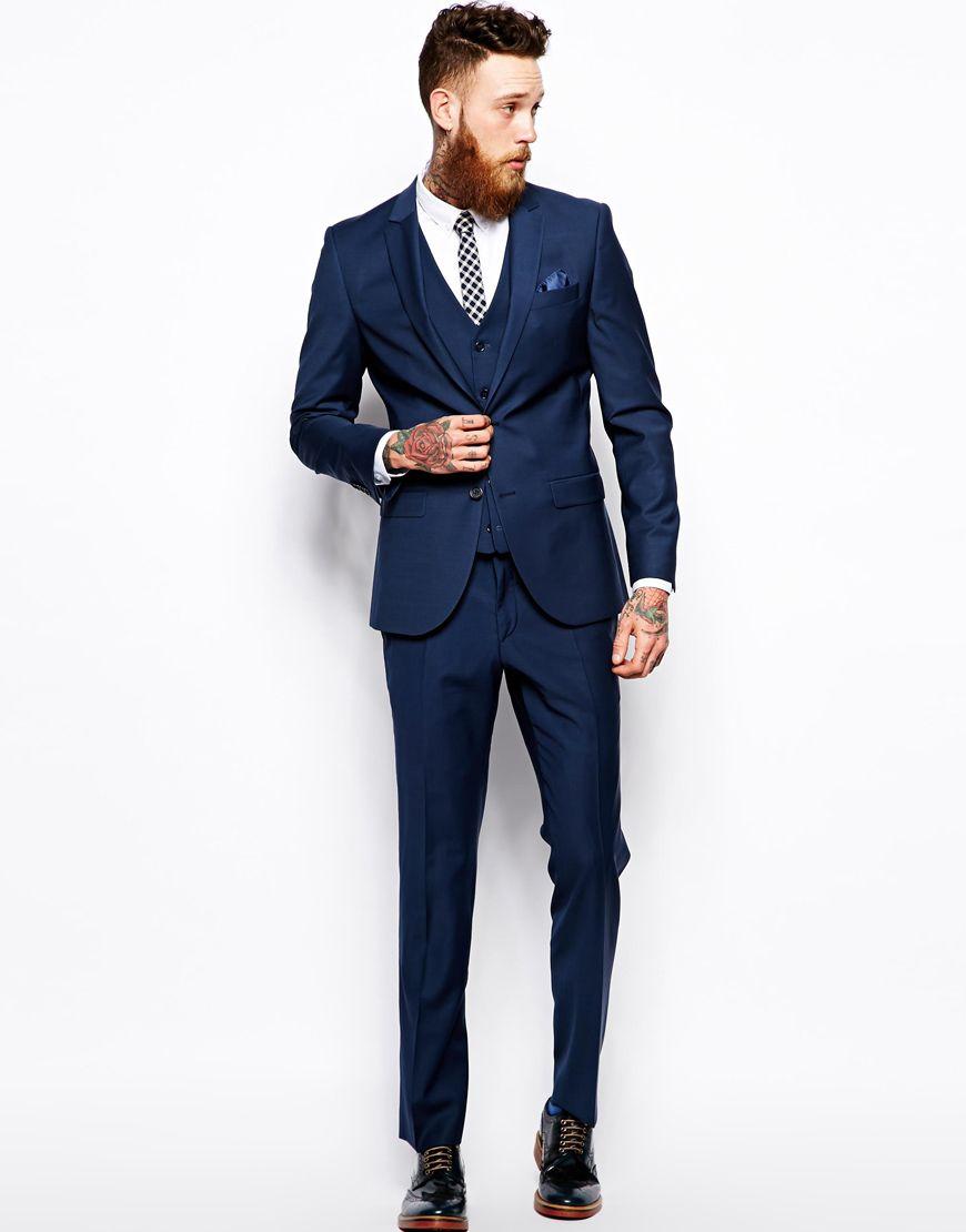 Image 1 of River Island Blue Slim Fit Suit