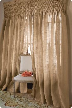 Smocked Jute Drapery Living Room Blinds Window Coverings Diy