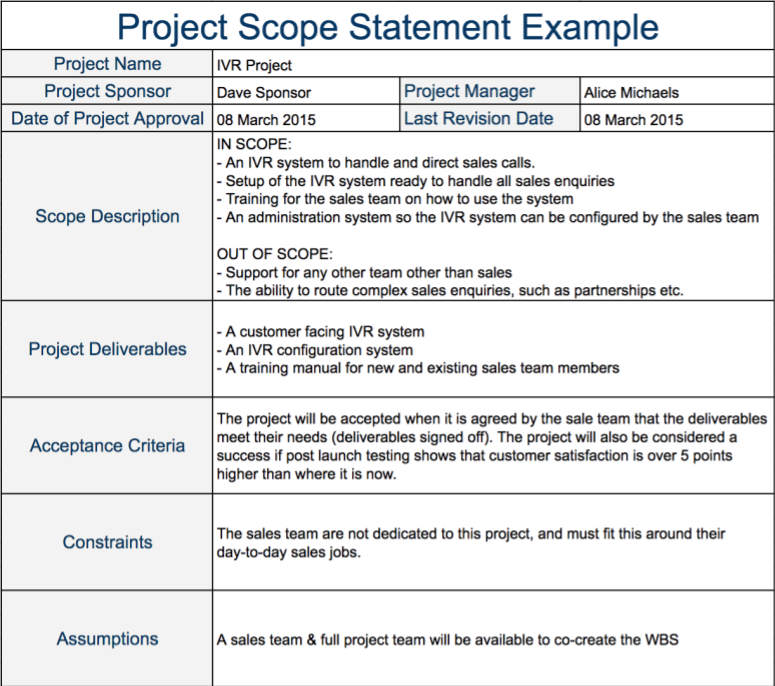 project scope example template pinterest scope creep and template