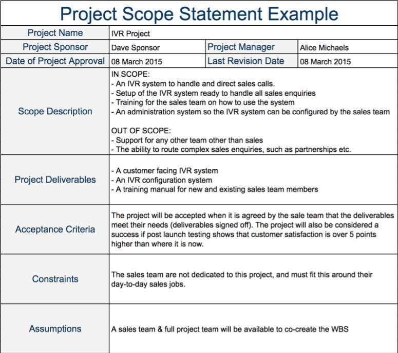 Project scope example template pinterest projects program project scope example program management project management scope creep statement template project maxwellsz
