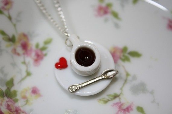 Coffee Love Coffee Cup Necklace by PenelopesPorch on Etsy, $14.99  This says Jackie LOL .... coffee, coffee, coffee