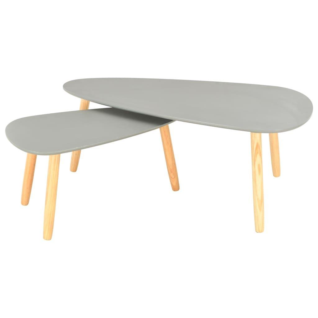 vidaXL Coffee Tables 2 pcs Grey Solid Pinewood