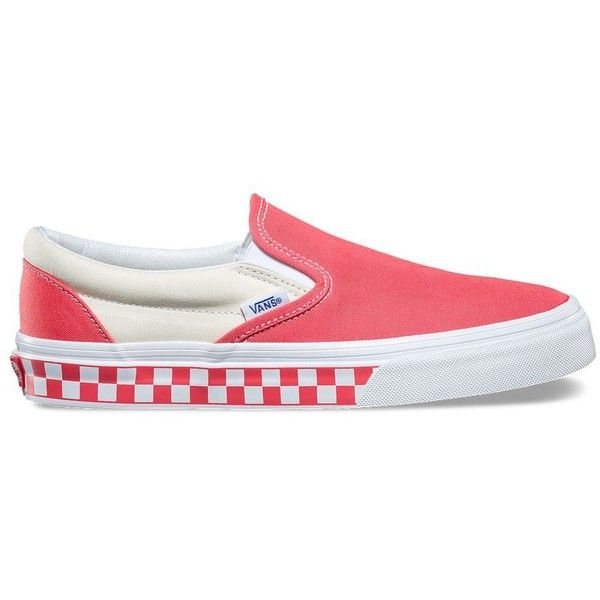 Vans Checker Sidewall Slip-On ($55) ❤ liked on Polyvore featuring shoes,  sneakers, pink, vans footwear, rubber shoes, slip-on shoes, rubber sneaker…