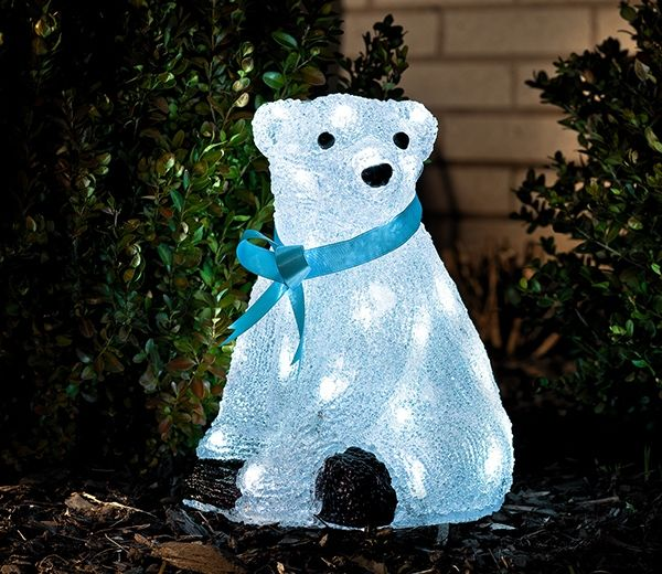 Outdoor Lightup Polar Bear with Blue Ribbon - GardenSite.co.uk - Outdoor Lightup Polar Bear With Blue Ribbon Outdoor Christmas