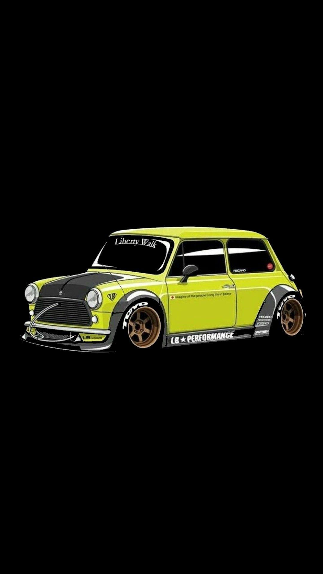Mr Bean Mini Cooper Crazy Modified Car Iphone Wallpaper Mini Cooper Car Cartoon