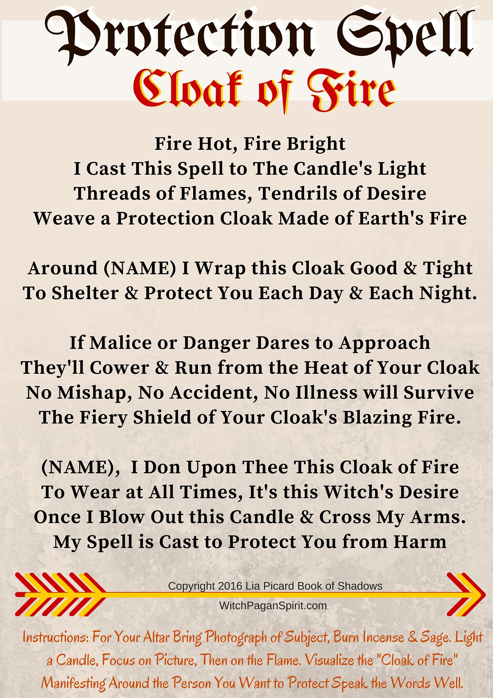 Cloak of fire protection spell a black crow spoke to me this