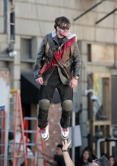 Feb, 25 - Josh Hutcherson does his own wire stunts as he joins co-star Kiersey Clemons for an action packed music video shoot for DJ Snake in LA.