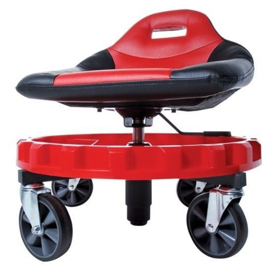 Garage Chair With Wheels Proper Posture Kneeling Rolling Mechanic Stool Seat Creeper Adjustable Work Tray Body Shop Traxion