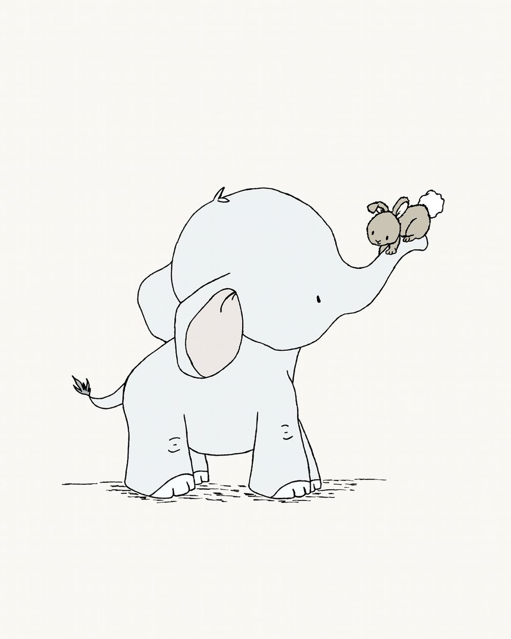 This Sweet Nursery Art Print Features Baby Elephant And Bunny Friends Comes In Gender Neutral Colors To Suit Any