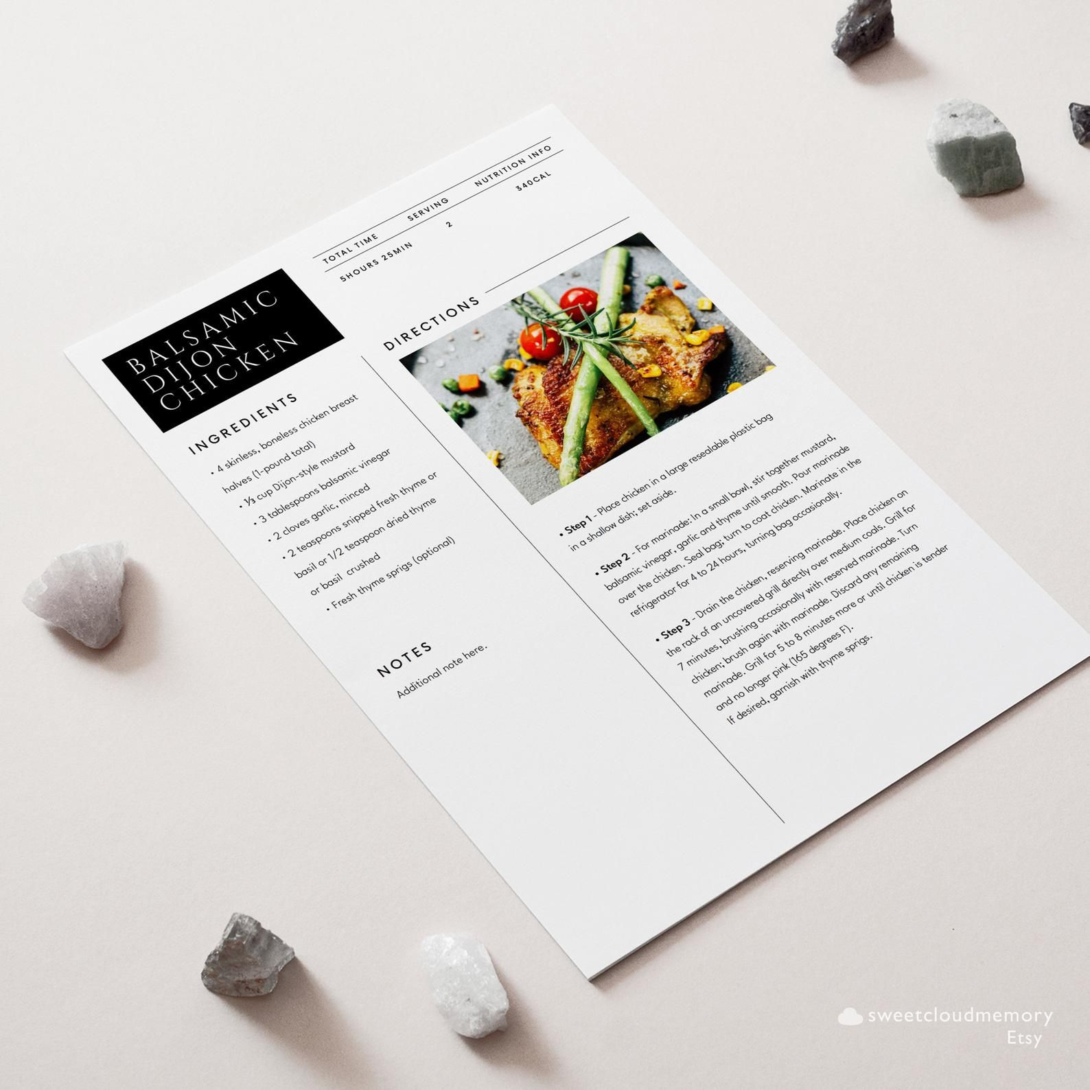 Modern Clean Recipe Card Template Editable Photo Recipe Card Etsy Recipe Cards Template Recipe Cards Printable Recipe Cards