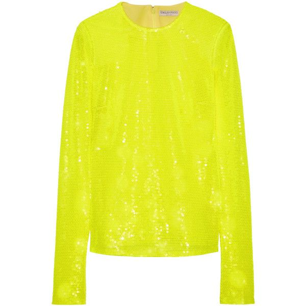 Countdown Package For Sale Wide Range Of Sale Online Emilio Pucci Woman Sequined Tulle Top Bright Yellow Size 46 Emilio Pucci Outlet Locations Sale Online Great Deals Cheap Price oTco7WP9