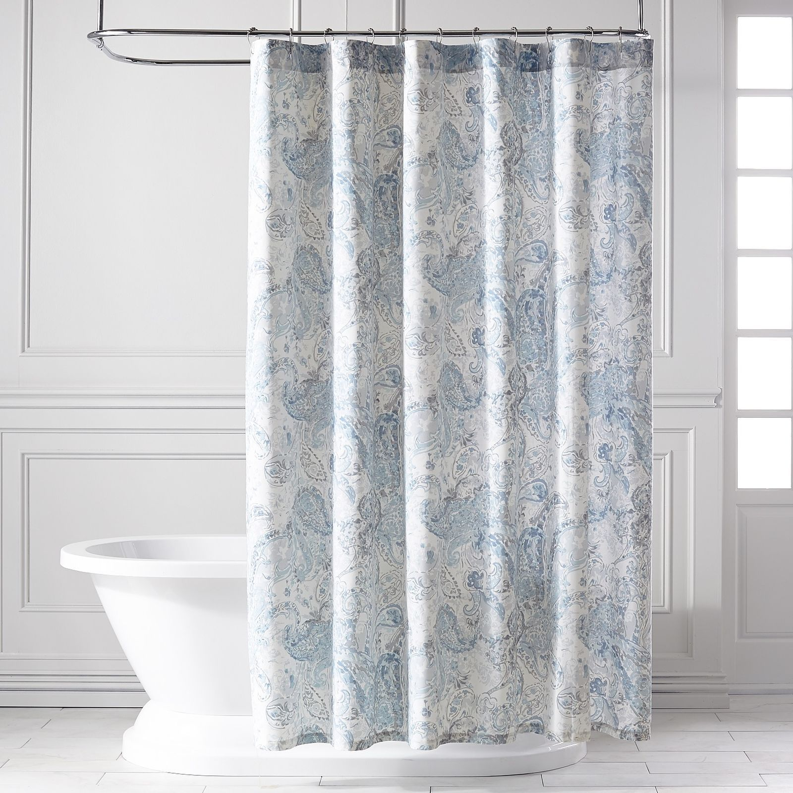 Tranquil Paisley Sky Blue Shower Curtain Blue Shower Curtains