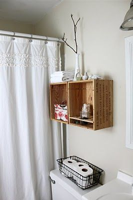 Bathroom Decorating Ideas Above Toilet the itty bitty bathroom solution - wine crates as above toilet