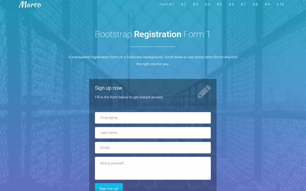 Marco Multi Purpose Landing Page By Azmind Registration Form Landing Page Sign Up Page