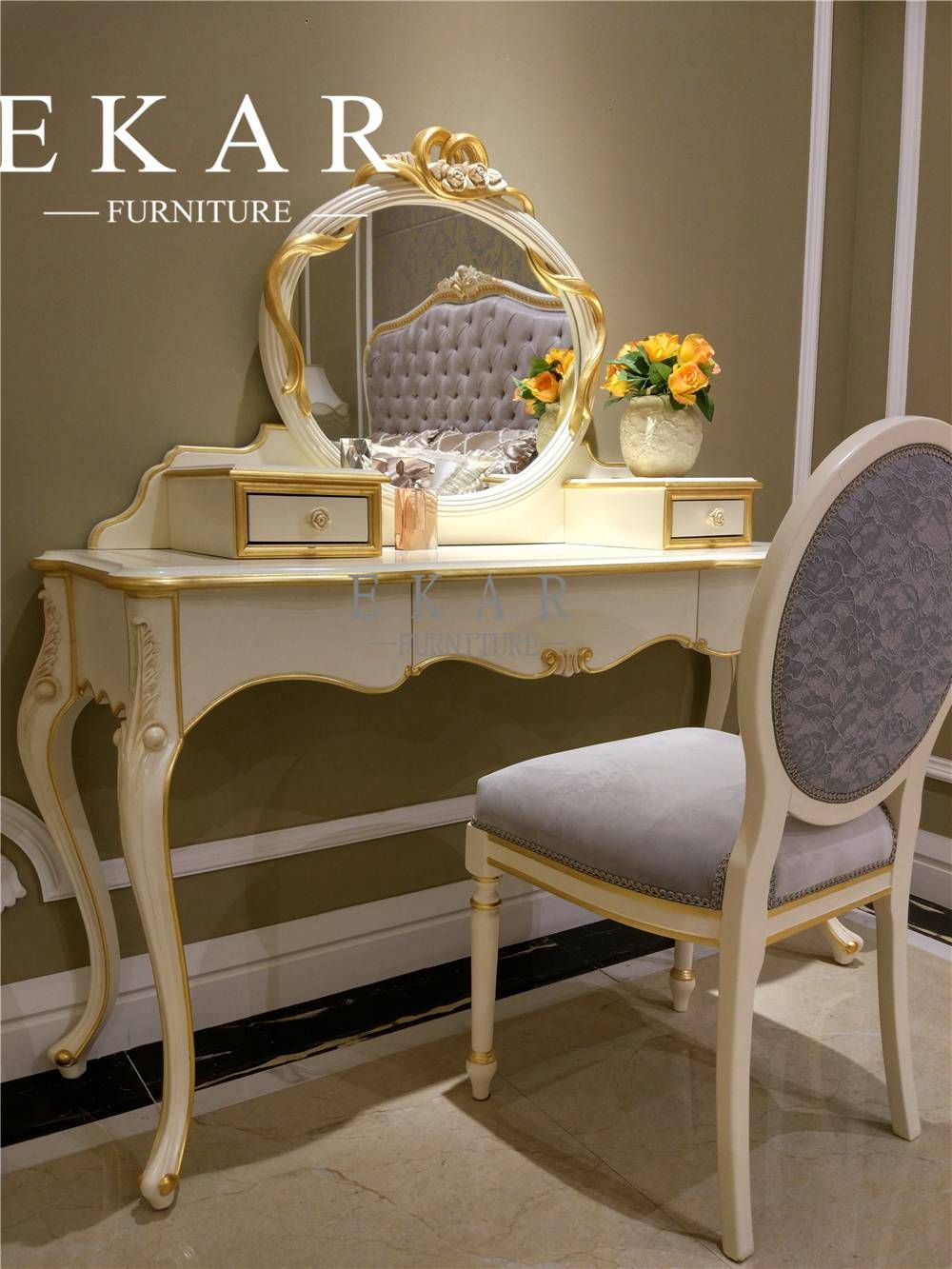 White Wooden Mirrored Vanity Table Makeup Table Bedroom Table