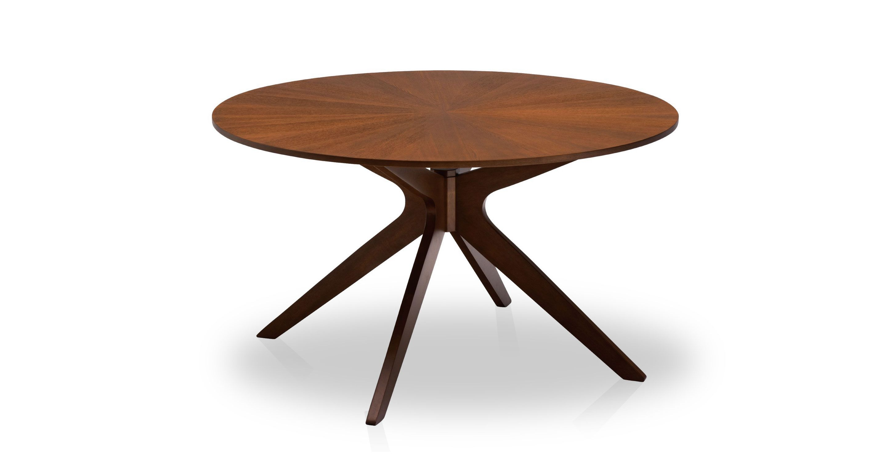 Modern round pedestal dining table - Round Dining Table 4 6 Person Walnut Finish Article Conan Modern Furniture