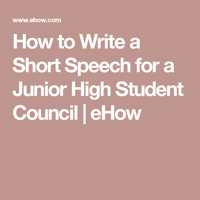 How To Write A Short Speech For A Junior High Student