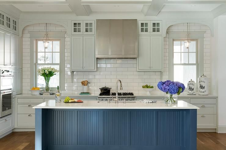Light Gray Beadboard Cabinets Go To The Ceiling In This White