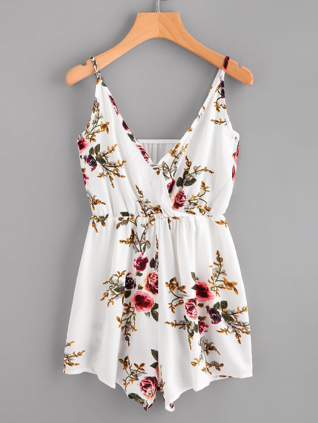 White Overall Random Floral Print Cami Straps V-Neck Sleeveless ... 61ea88fc653