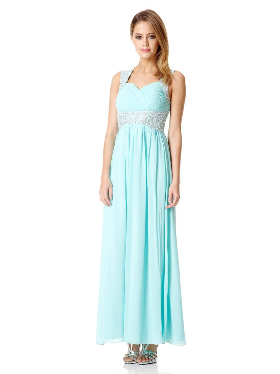 Aqua Chiffon Embellished Maxi Dress - Quiz Clothing | Places to ...