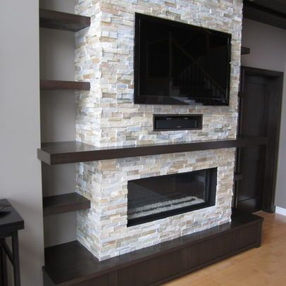 dark wood shelves and fireplace tv combo house family room rh pinterest com fireplace tv combo wall units tv fireplace combo designs