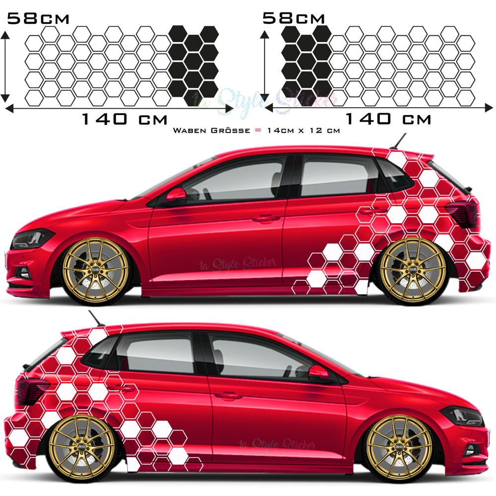 Auto Aufkleber Seitenaufkleber Hexagon Motiv Car Tattoo