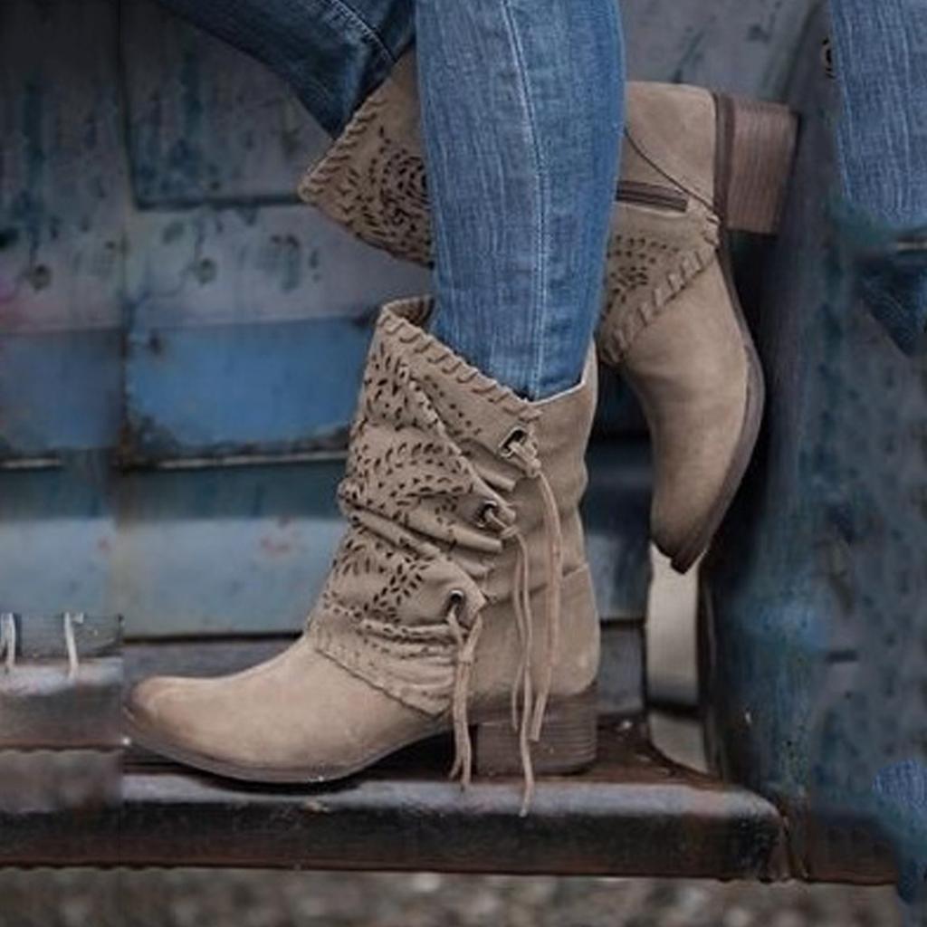 Round Toe Block Heel Boots   Boots