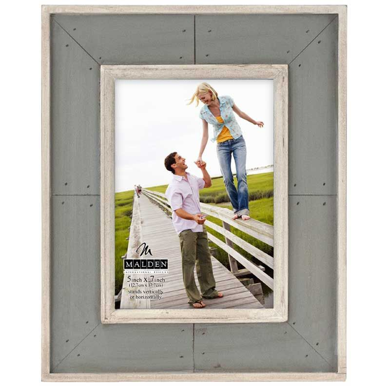 Malden Sun Washed Woods Gray Distressed Picture Frame, 5 by 7-Inch ...