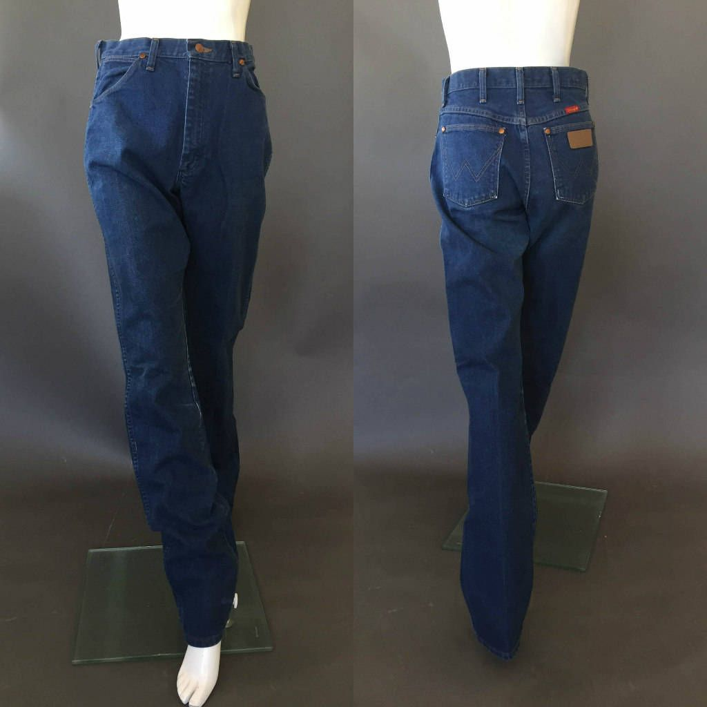 80's Vintage Medium Blue WRANGLER Men's Jeans Tall/M by JoplinDallasVintage on Etsy