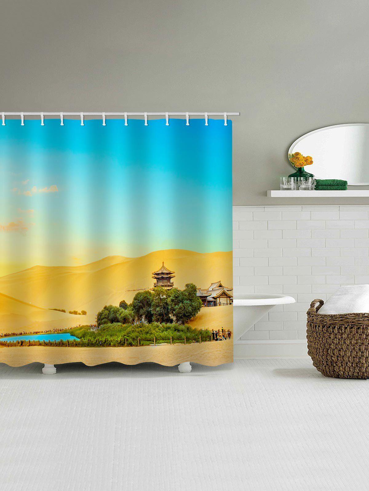Desert Oasis Printed Waterproof Shower Curtain Ad Spon