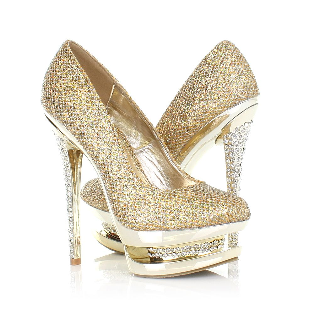 Womens ladies gold diamante platform encrusted high heel party ...