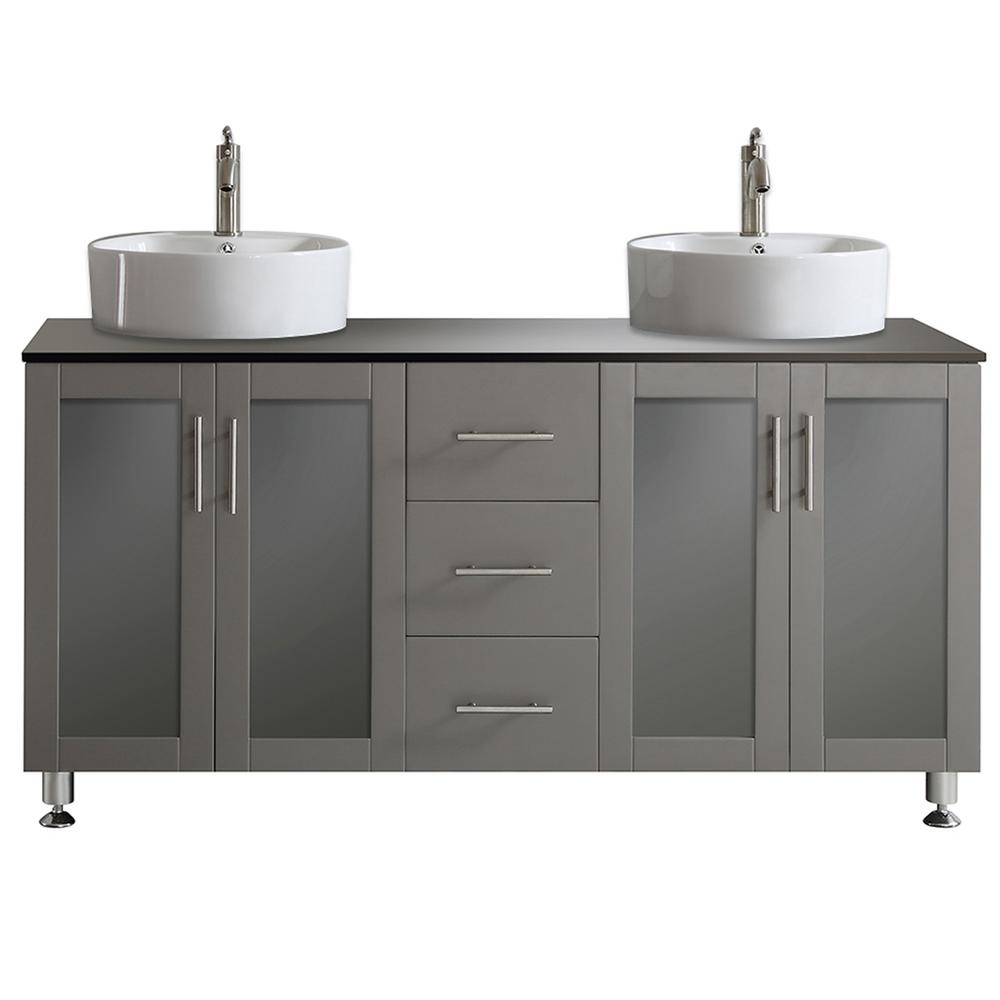 Roswell Tuscany 60 In W X 22 In D X 30 In H Vanity In Grey With Glass Vanity Top In Black With Basin 745060 Gr Bg Nm The Home Depot White Vessel Sink