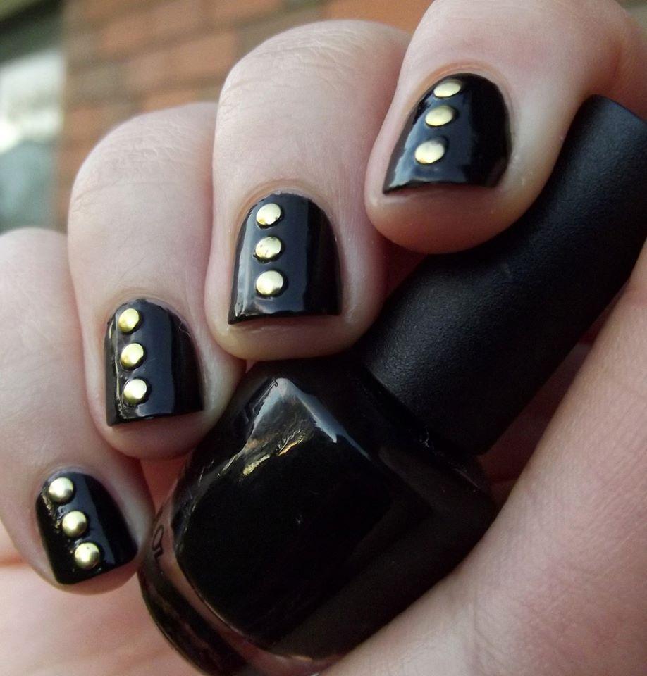 nail art with stud and black polish #stud #nail art #nail ...
