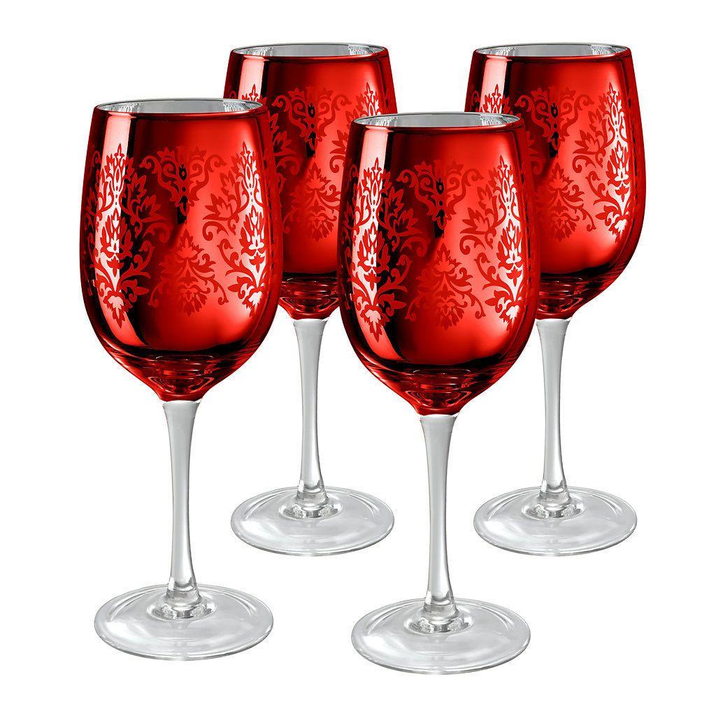 Artland Brocade 4 Pc Wine Glass Set Tacas Personalizadas Taca De Vinho Tacas De Vinho