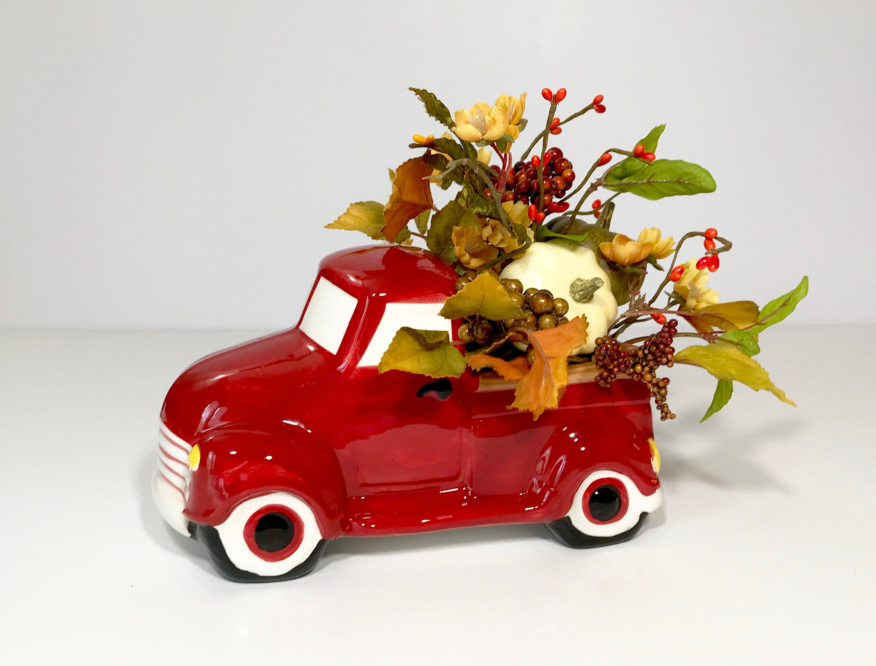 Ceramic Small Pickup Truck Novelty Planter Small Fall Floral Etsy In 2020 Fall Floral Arrangements Small Pickup Trucks Novelty Planters