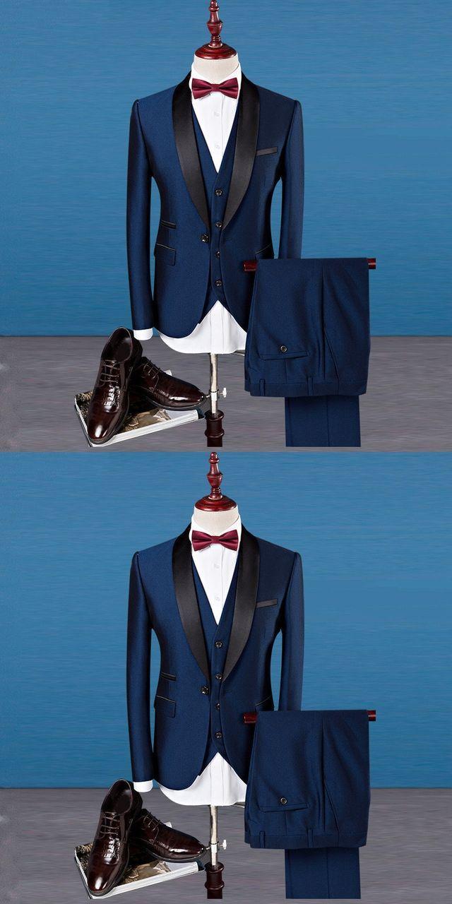Classic Shawl Collar Men Suits Three-piece Suit Plus Size Business ...